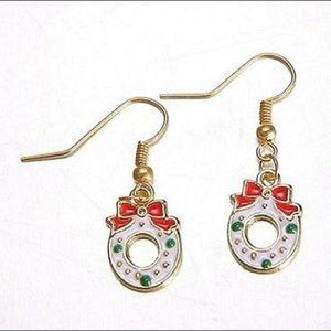 Christmas Wreath Dangle Drop Earrings